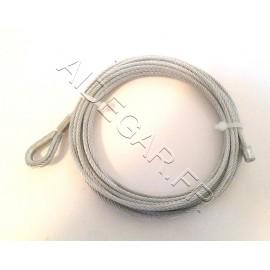 Câble acier 3 mm avec boucle et manchon serti + 1 serre câble +1 cosse coeur